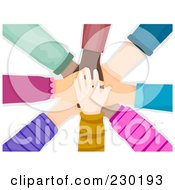 Royalty Free RF Clipart Illustration Of A Diverse Hands Stacked