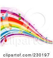 Royalty Free RF Clipart Illustration Of A Rainbow Wave With Music Notes Background 1 by BNP Design Studio