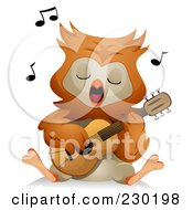 Royalty Free RF Clipart Illustration Of An Owl Singing And Playing A Guitar by BNP Design Studio