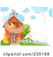 Royalty Free RF Clipart Illustration Of A Chicken In A Barn by BNP Design Studio