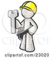 Poster, Art Print Of Proud White Construction Worker Man In A Hardhat Holding A Wrench Clipart Illustration