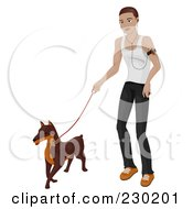 Royalty Free RF Clipart Illustration Of A Man Listening To An Mp3 Player And Walking His Dog by BNP Design Studio