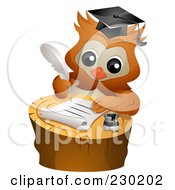 Professor Owl Writing A Letter On A Tree Stump