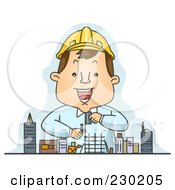 Royalty Free RF Clipart Illustration Of A Happy Engineer Planning Over Blue by BNP Design Studio