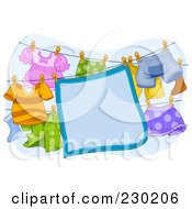 Royalty Free RF Clipart Illustration Of A Blue Blanket Sign Hanging On A Clothesline by BNP Design Studio