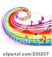 Royalty Free RF Clipart Illustration Of A Rainbow Wave With Music Notes Background 3 by BNP Design Studio