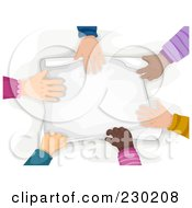 Royalty Free RF Clipart Illustration Of A Diverse Hands Touching Paper