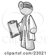 Clipart Illustration Of A White Male Doctor Holding A Clipboard And Wearing A Head Lamp by Leo Blanchette