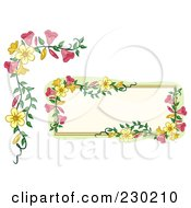Digital Collage Of A Pink And Yellow Floral Frame And Corner Border