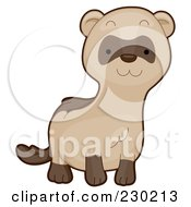 Royalty Free RF Clipart Illustration Of A Cute Curious Ferret by BNP Design Studio