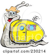 Royalty Free RF Clipart Illustration Of A Happy Snail With A Motor Home Shell