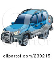 Royalty Free RF Clipart Illustration Of A Blue Landcruiser SUV by Dennis Holmes Designs