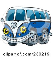 Royalty Free RF Clipart Illustration Of A Blue VW Kombi Van Character by Dennis Holmes Designs