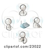 Clipart Illustration Of White Men Holding A Phone Meeting And Wearing Wireless Headsets