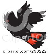 Royalty Free RF Clipart Illustration Of A Flying Red Tail Cockatoo Bird by Dennis Holmes Designs