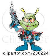 Royalty Free RF Clipart Illustration Of A Green Alien Holding A Ray Gun by Dennis Holmes Designs