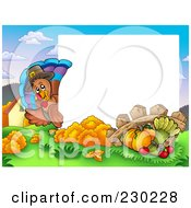 Royalty Free RF Clipart Illustration Of A Horizontal Thanksgiving Turkey Bird And Harvest Frame Around White Space