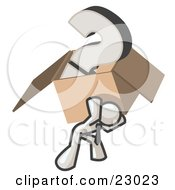 Clipart Illustration Of A White Man Carrying A Heavy Question Mark In A Box
