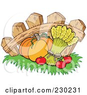 Royalty Free RF Clipart Illustration Of A Pumpkin Wheat And Apples Against A Fence by visekart