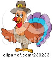 Royalty Free RF Clipart Illustration Of A Thanksgiving Turkey Bird Holding Up A Wing