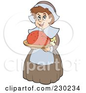 Royalty Free RF Clipart Illustration Of A Pilgrim Lady Holding A Roasted Turkey by visekart