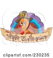 Royalty Free RF Clipart Illustration Of A Thanksgiving Turkey Bird Over A Greeting Banner