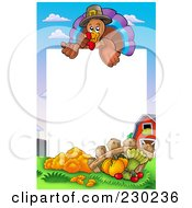 Royalty Free RF Clipart Illustration Of A Vertical Thanksgiving Turkey Bird And Harvest Frame Around White Space by visekart