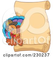 Royalty Free RF Clipart Illustration Of A Thanksgiving Turkey Bird With A Blank Parchment Page 3 by visekart