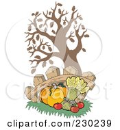 Royalty Free RF Clipart Illustration Of A Pumpkin Wheat And Apples Under A Tree Against A Fence by visekart