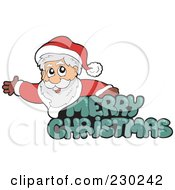 Royalty Free RF Clipart Illustration Of A Green Merry Christmas Greeting With Santa