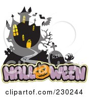 Royalty Free RF Clipart Illustration Of A Haunted Mansion Halloween Greeting 2