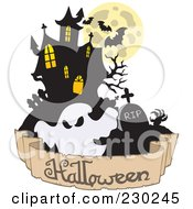 Royalty Free RF Clipart Illustration Of A Haunted Mansion Ghost And Halloween Greeting Banner