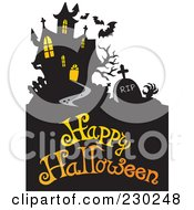 Royalty Free RF Clipart Illustration Of A Haunted Mansion Halloween Greeting 3