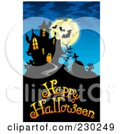 Royalty Free RF Clipart Illustration Of A Haunted Mansion Halloween Greeting 4