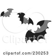 Royalty Free RF Clipart Illustration Of Three Black Silhouetted Flying Bats