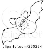 Royalty Free RF Clipart Illustration Of A Coloring Page Outline Of A Vampire Bat