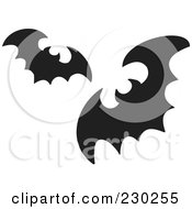 Royalty Free RF Clipart Illustration Of Two Black Silhouetted Flying Bats