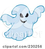 Royalty Free RF Clipart Illustration Of A Spooky Blue Ghost by visekart
