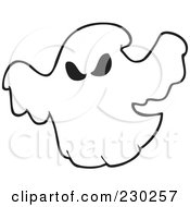 Royalty Free RF Clipart Illustration Of A Coloring Page Outline Of A Spooky Ghost