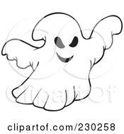 Royalty Free RF Clipart Illustration Of A Coloring Page Outline Of A Ghost