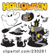 Royalty Free RF Clipart Illustration Of A Digital Collage Of Halloween Icons 2 by visekart