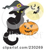 Royalty Free RF Clipart Illustration Of A Witch Cat By A Jackolantern With A Full Moon And Bats