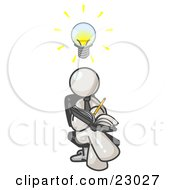 Smart White Man Seated With His Legs Crossed Brainstorming And Writing Ideas Down In A Notebook Lightbulb Over His Head
