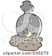 Royalty Free RF Clipart Illustration Of A Zombie Hand Reaching Out Of A Grave 1