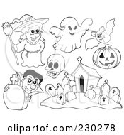 Royalty Free RF Clipart Illustration Of A Digital Collage Of Halloween Coloring Page Outlines Of A Witch Ghost Skull Bat Pumpkin Vampire And Cemetery