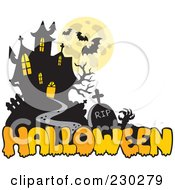 Royalty Free RF Clipart Illustration Of A Haunted Mansion Halloween Greeting 1