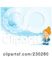 Girl Blowing A Wave Of Bubbles On Blue