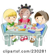 Royalty Free RF Clipart Illustration Of Diverse School Kids Molding Clay In Art Class