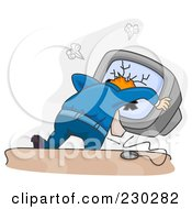 Royalty Free RF Clipart Illustration Of A Man Crashing His Head Through A Computer Over Gray