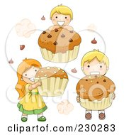 Royalty Free RF Clipart Illustration Of Children With Cupcakes by BNP Design Studio